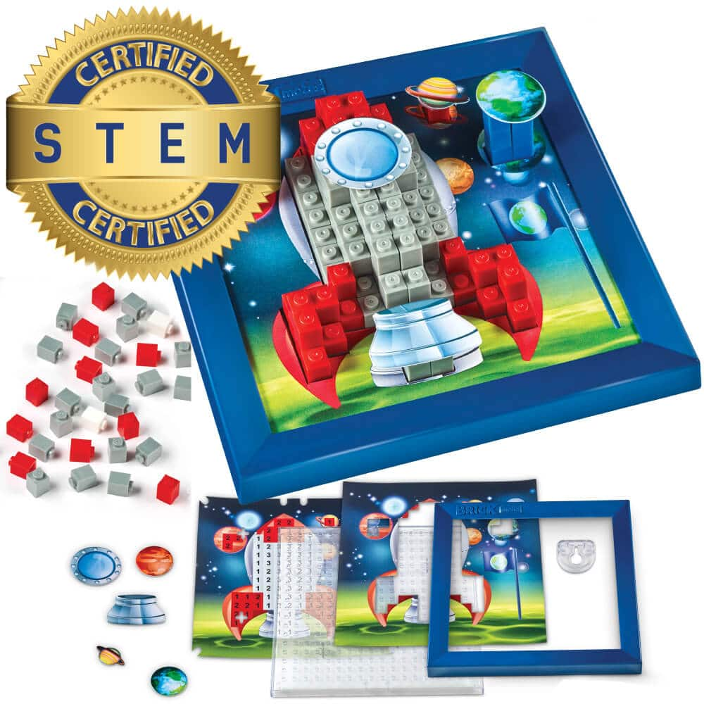Brick Mates – Stack By Numbers – Rocket Ship – STEM Toy For Kids 5+