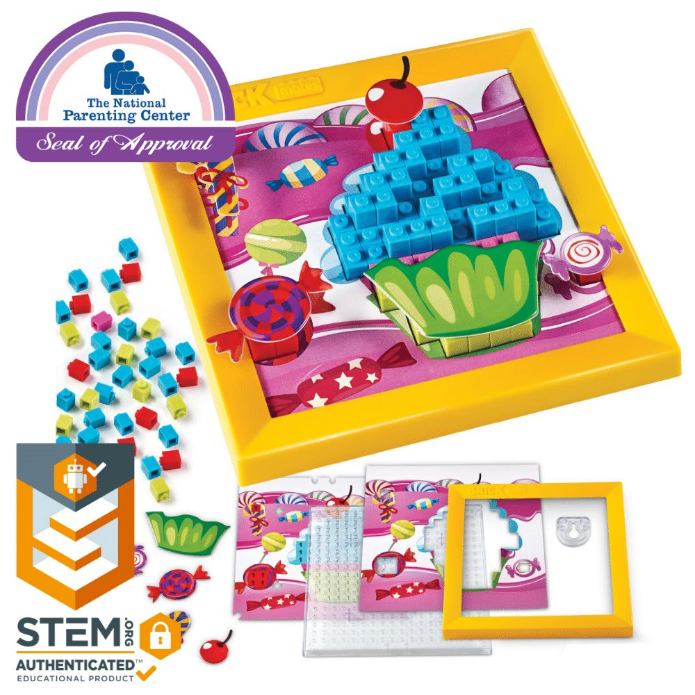 Brick Mates - Stack By Numbers - Cupcake - Construction Engineering STEM Learning Toy Building Play Set Puzzle For Kids 6, 7, 8, 9