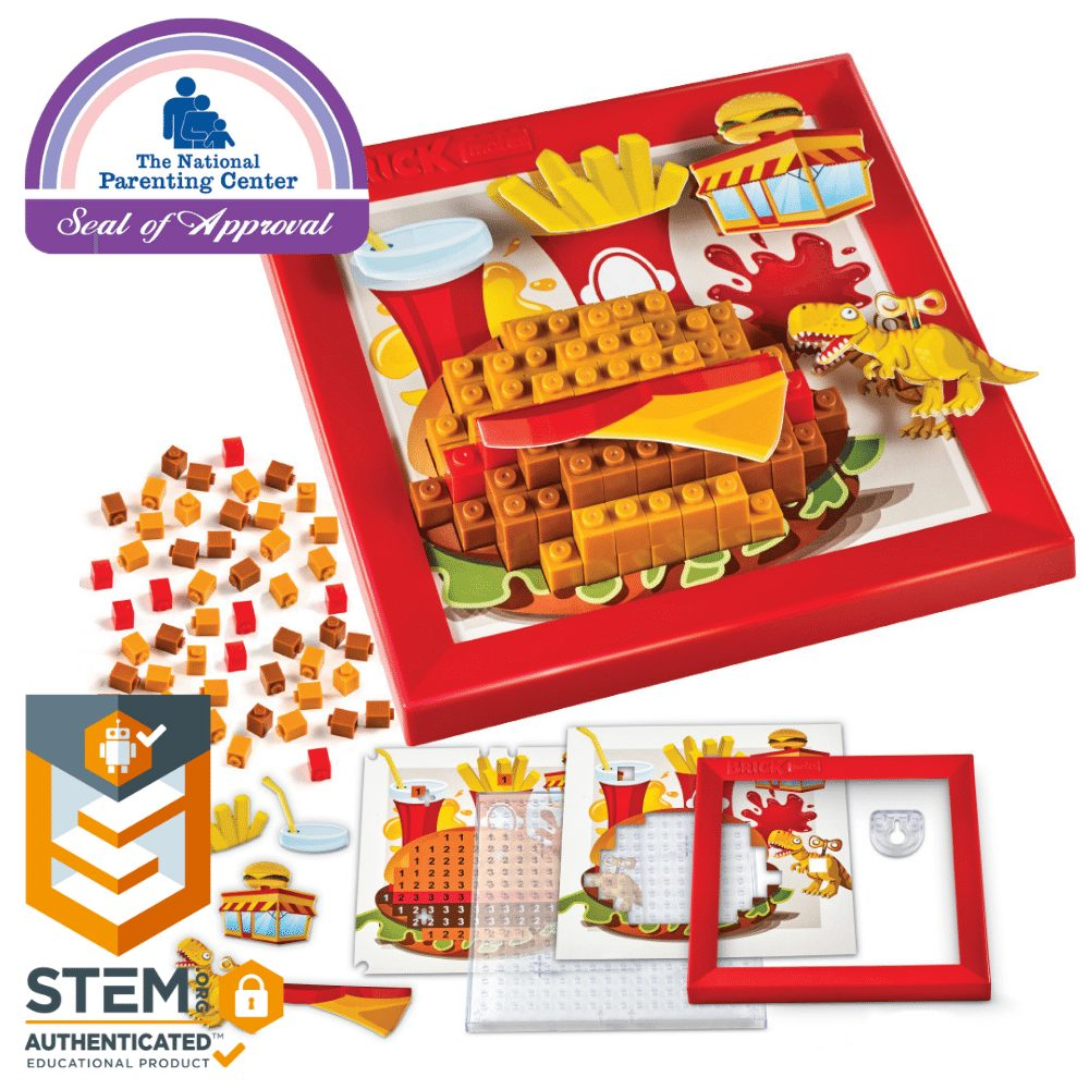 Brick Mates – Stack By Numbers – Food – Construction Engineering STEM Learning Toy Building Play Set Puzzle For Kids 6, 7, 8, 9