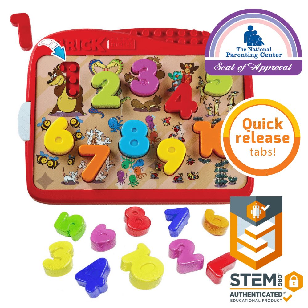 Brick Mates – Lock and Learn – Numbers – Shape Sorter Matching Blocks Puzzle STEM Learning Toy Play Set Activity For Toddlers 2,3,4