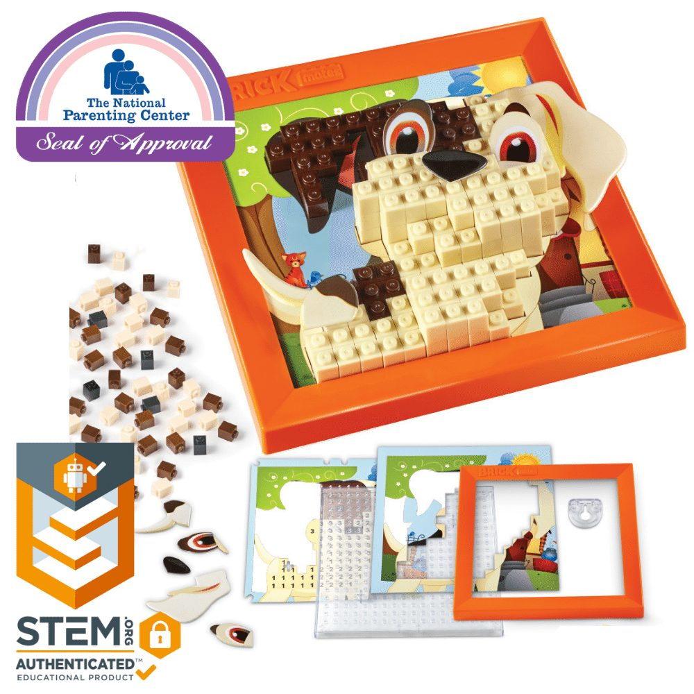 Brick Mates - Stack By Numbers - Puppy - Construction Engineering STEM Learning Toy Building Play Set Puzzle For Kids 6, 7, 8, 9