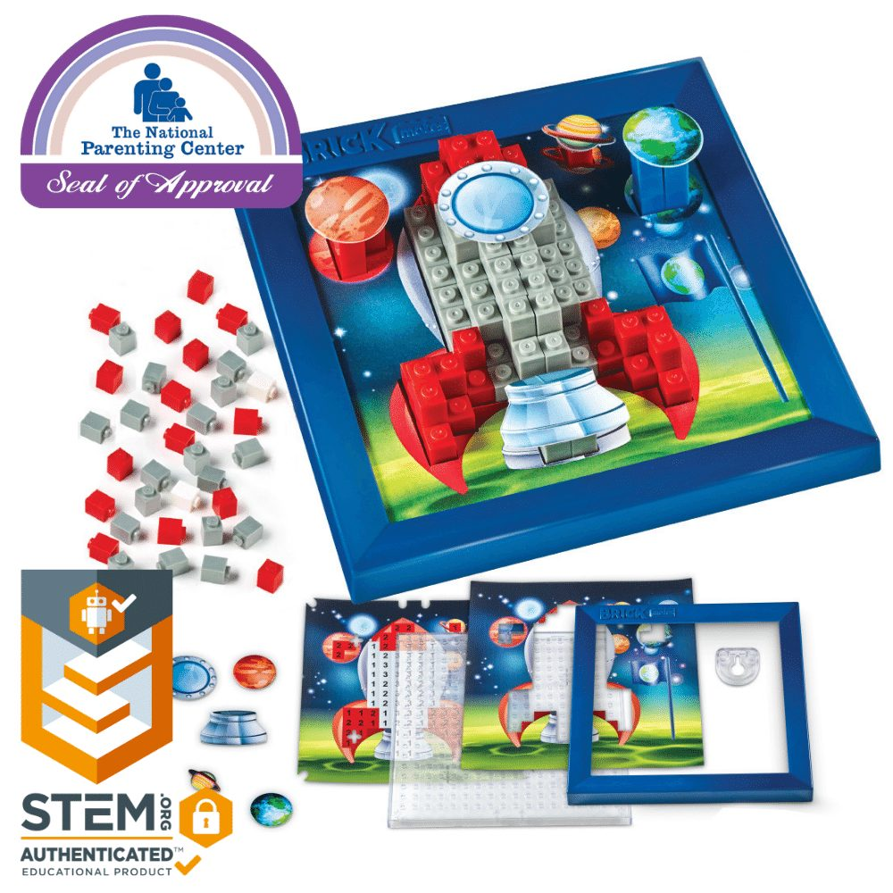Brick Mates - Stack By Numbers - Rocket - Construction Engineering STEM Learning Toy Building Play Set Puzzle For Kids 6, 7, 8, 9